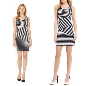 Michael Kors b/w diagonal stripe sleeveless dress